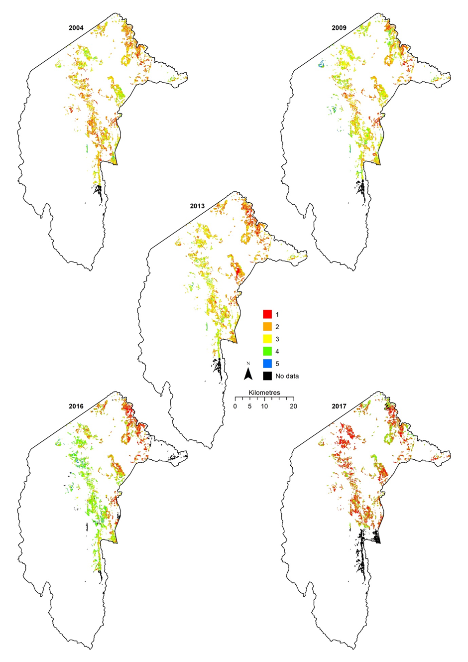 Figure 2 Temporal condition mapping of Blakely's Red Gum (Eucalyptus blakelyi) over years 2004, 2009, 2013, 2016, and 2017