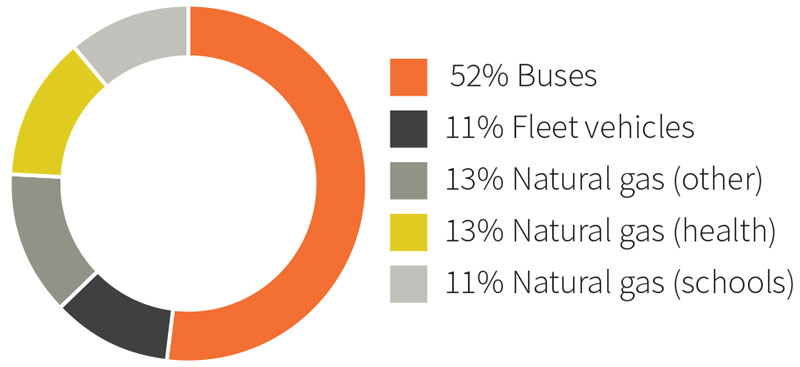 Chart showing the projected sources of Government emissions in 2020. The sources of emissions are 52 per cent from buses, 11 per cent from fleet vehicles, 13 per cent from natural gas from health, 11 per cent from natural gas from schools, and 13 per cent from other natural gas.