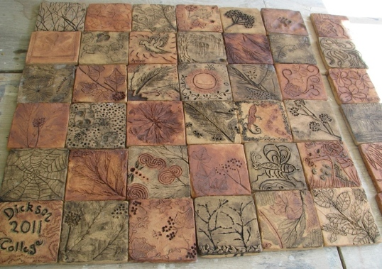 Tiles by Dickson College ceramics students.