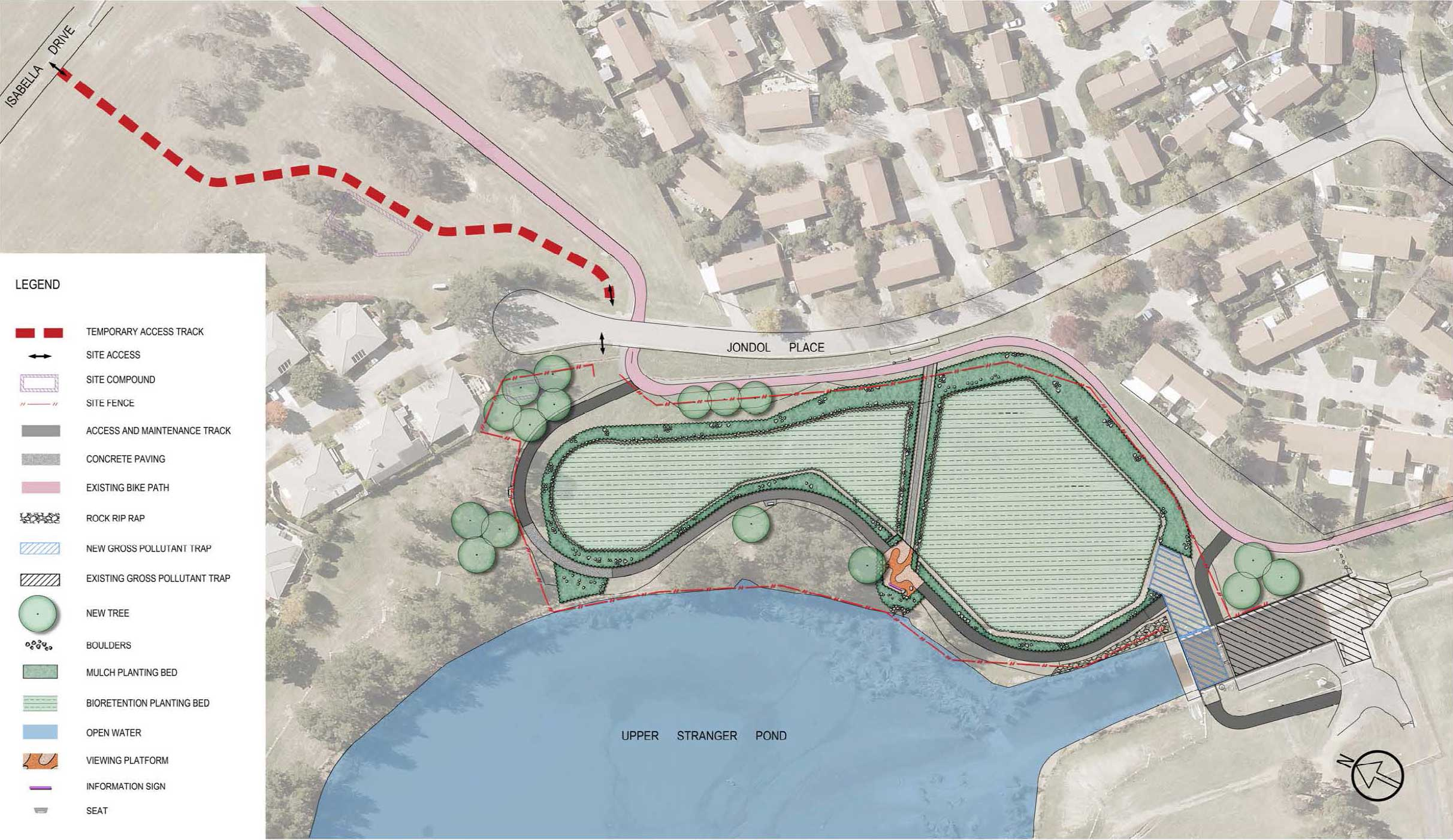 Rain garden landscape design for Upper Stranger Pond