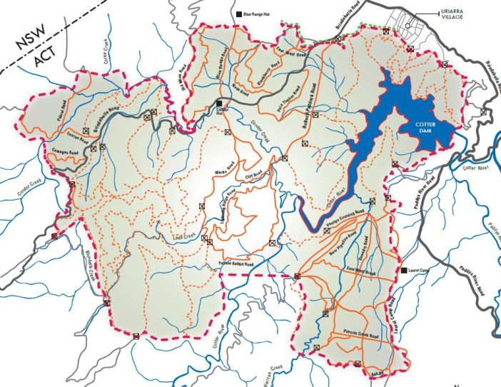 Lower cotter catchment map