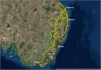 Little Eagle satellite tracker information showing flight paths spanning from north of Bundaberg in Queensland, back south past the ACT into Victoria, then as far west as Port Pirie in South Australia and across to the East Gippsland region in Victoria where she was most recently recorded.