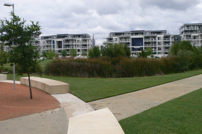 Units at the Kingston Foreshore overlook Norgrove Park.