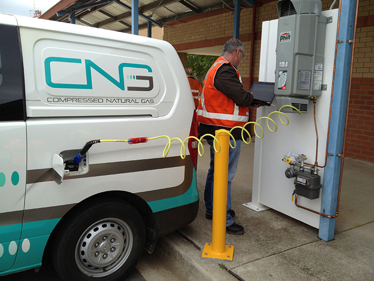 The Directorate is working with ACTEWAGL on a project that could see CNG cars refuelling at home