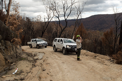 Parks and Conservation staff undertaking thermal scoping in Namadgi