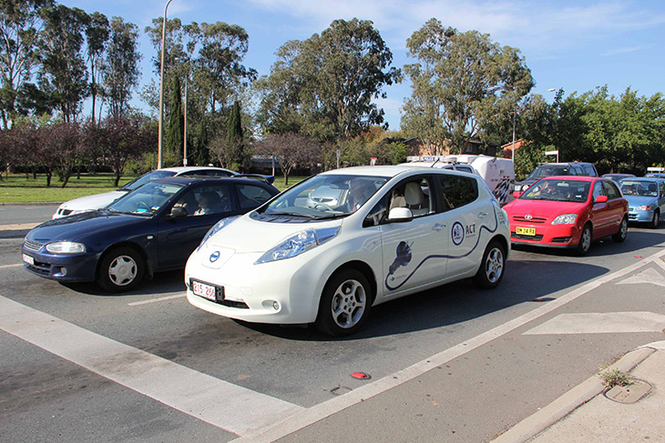 One of the Directorate's two electric vehicles driving down Northbourne Avenue