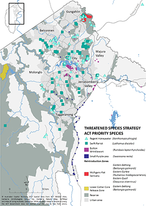 Map showing known habitat of priority threatened species