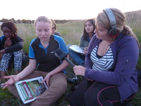 Gungahlin College students take part in Frogwatch activities at the wetland, October 2011.