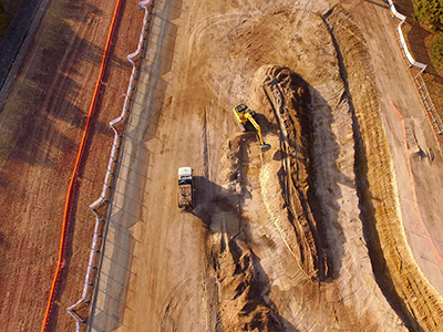 Aerial view of water quality project construction work at Yarralumla Creek, Woden