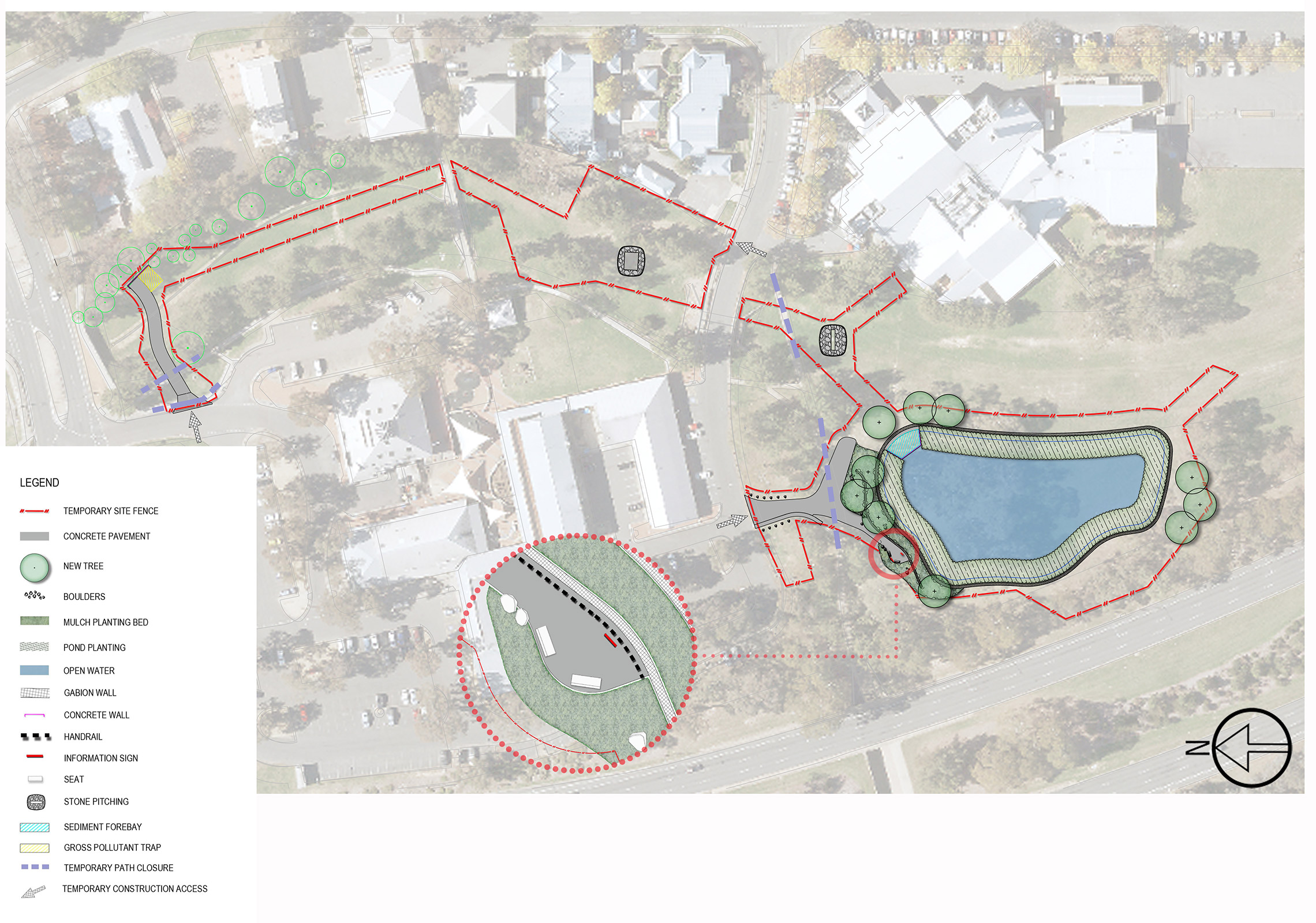 Landscape plan for pond in Kambah, Lake Tuggeranong Catchment
